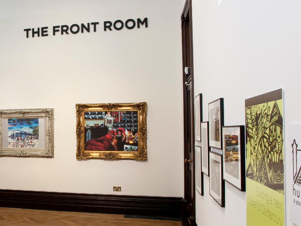 The Front Room Gallery and artwork on the walls.
