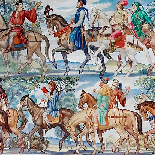 A painting of medieval men on horses.