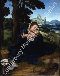 A painting of a woman cradling a baby by a tree.