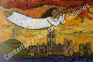 A painting of an angel flying above Canterbury Cathedral and the city.