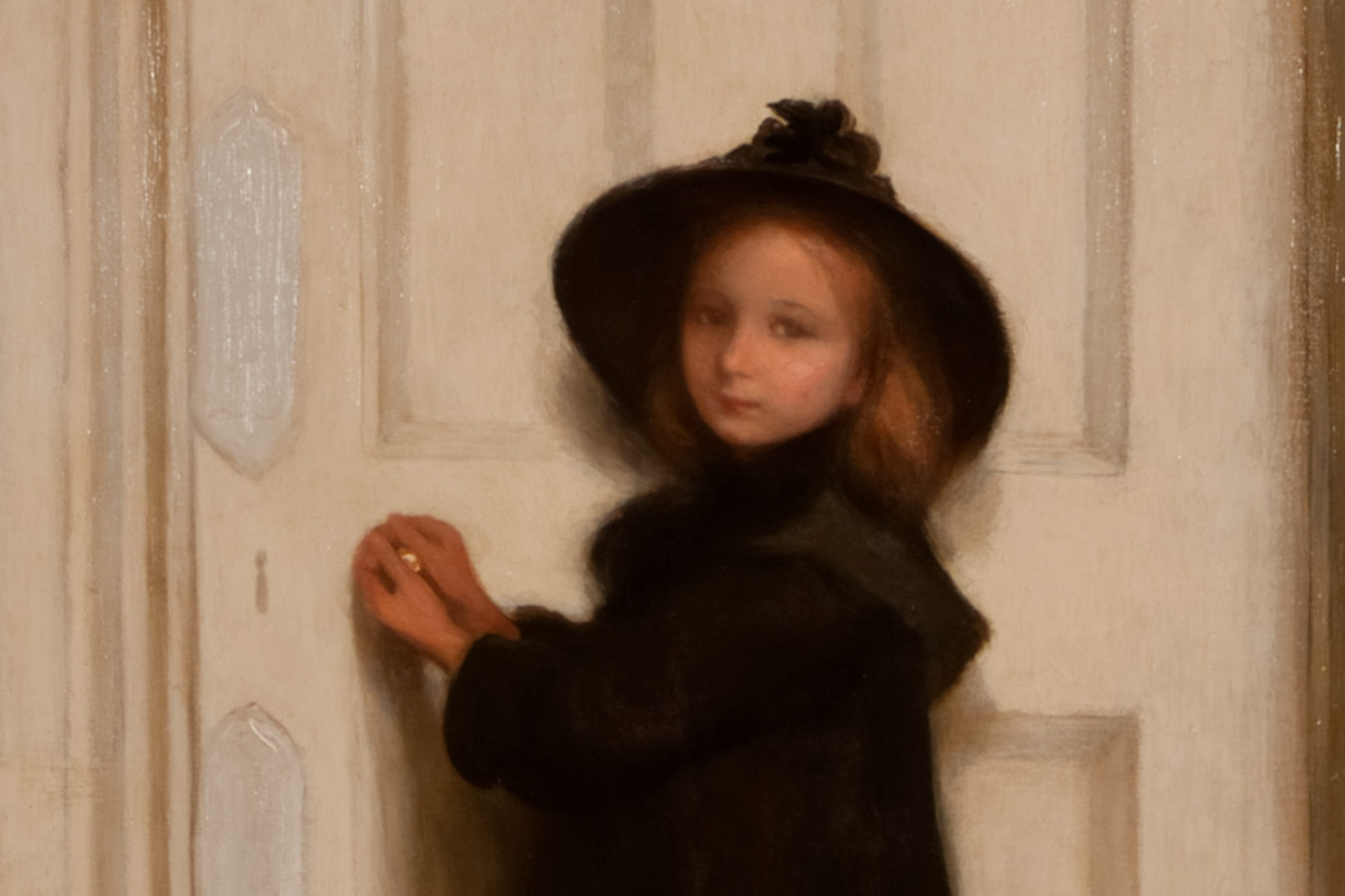 The Little Girl at the Door painting, featuring  young girl in a black outfit and hat, looking at the artist, with her hand on a white door knob.