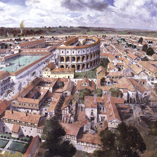 Recreation of Roman Canterbury from above.