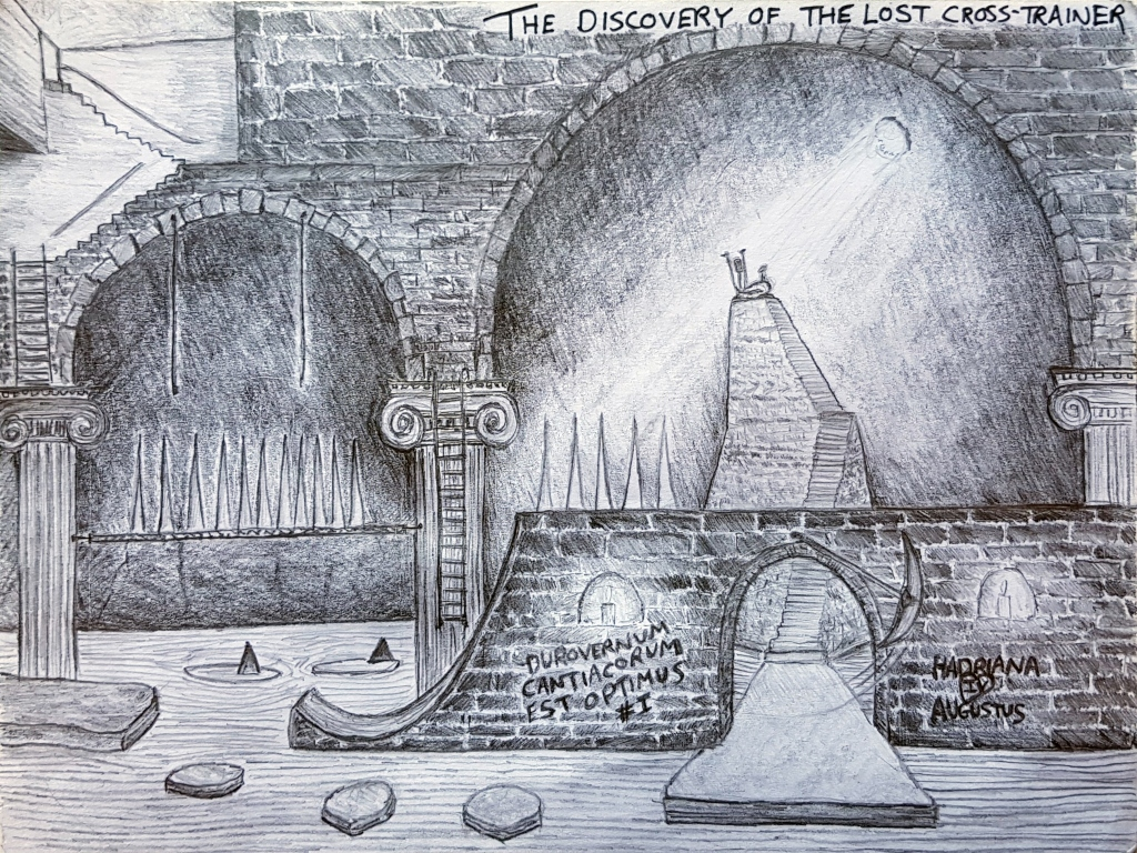 Black and white pen illustration titled 'The Discovery of the Lost Cross-Trainer'