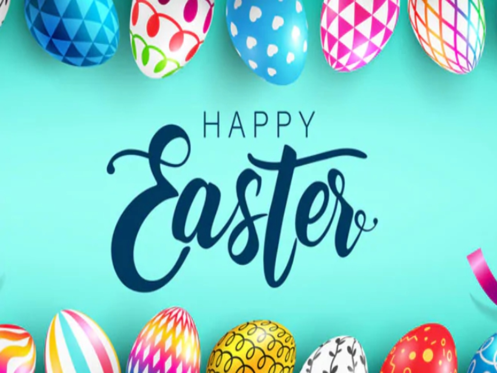 'Happy Easter' text with Easter eggs surrounding it