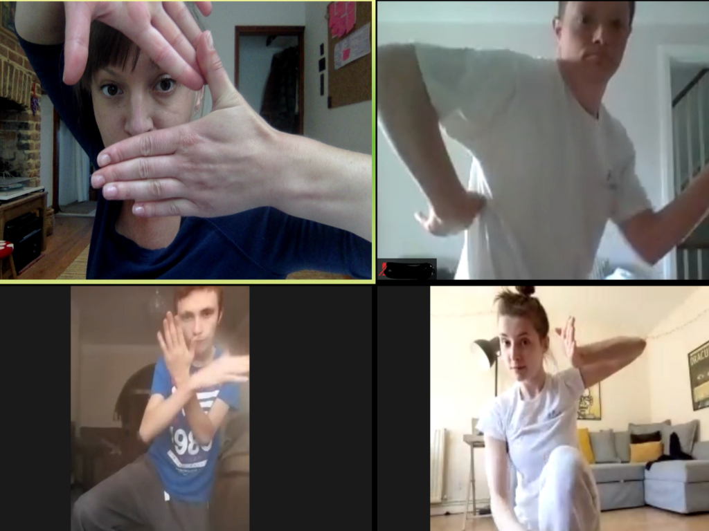 Screenshot of children participating in a virtual dance group