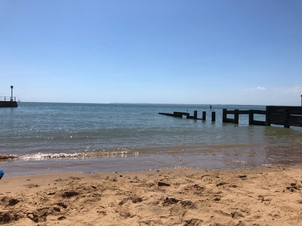 Seaside view with blue skies