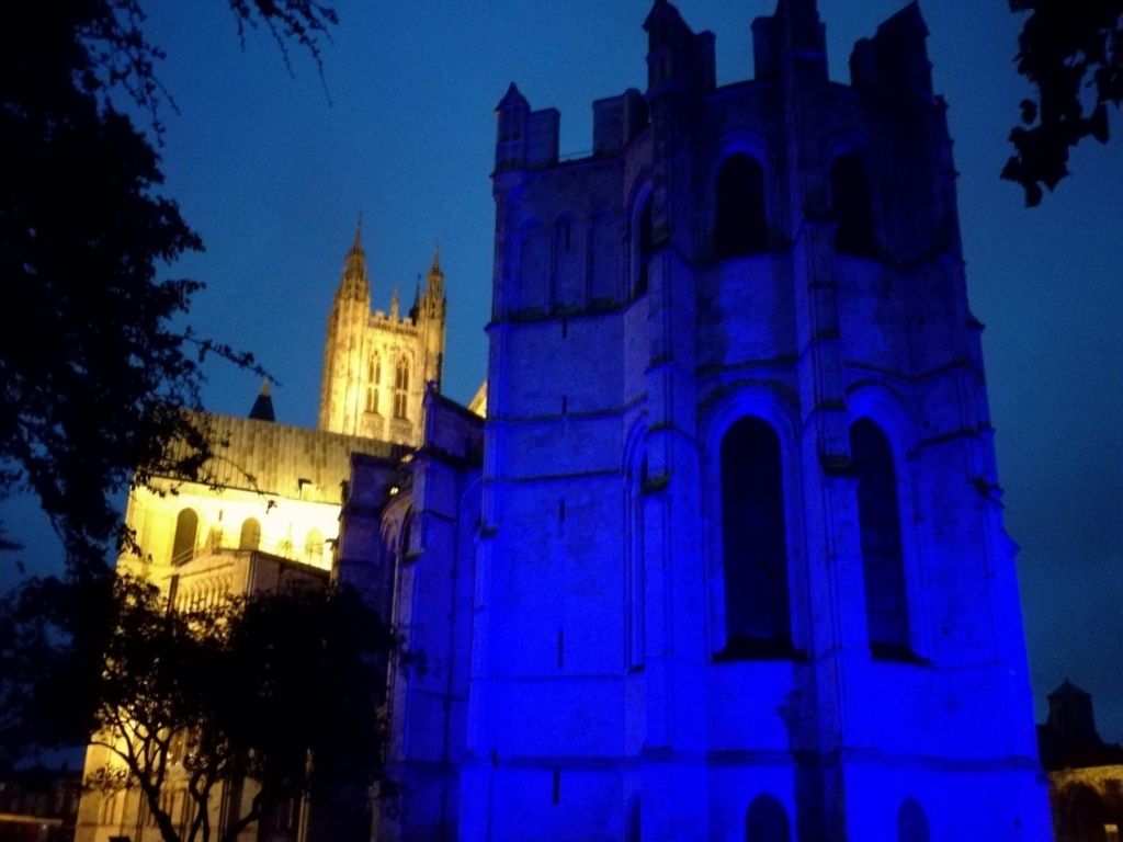 Canterbury Cathedral lit up at night