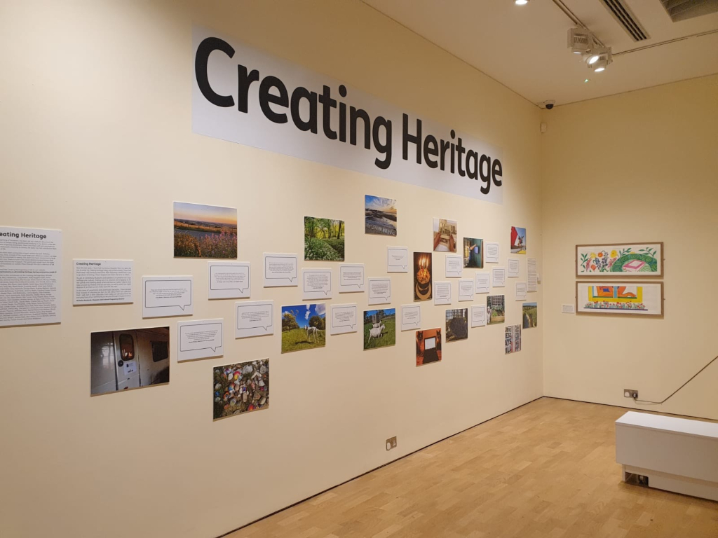 The Creating Heritage artwork entries display on a wall in the Special Exhibition Gallery