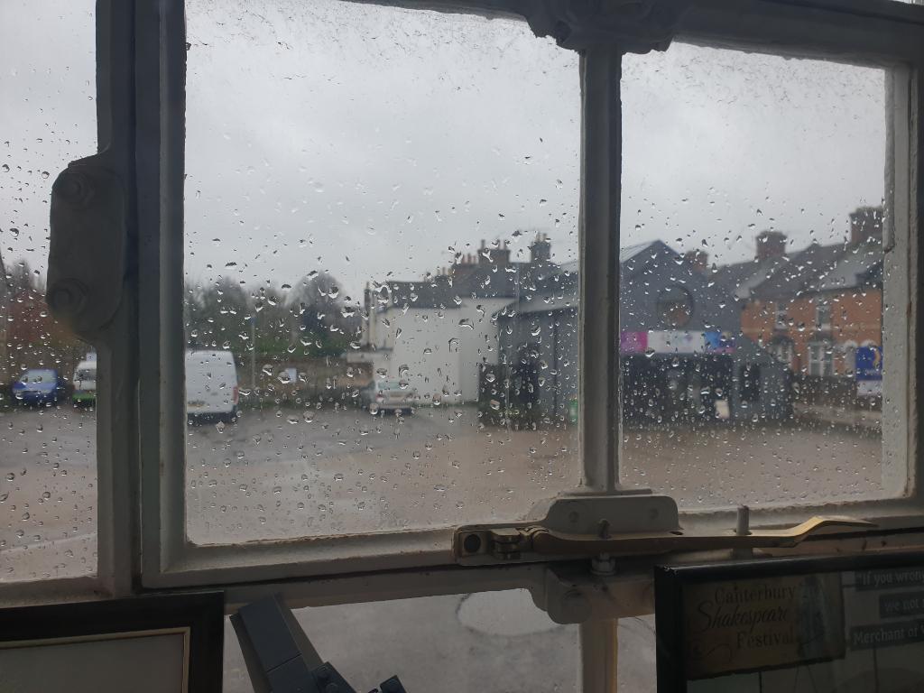Rainy view through a window
