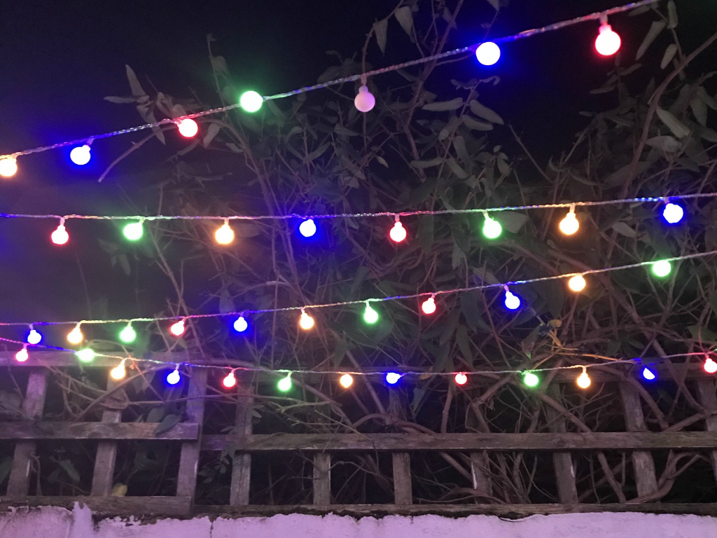 Fairy lights hanging outside