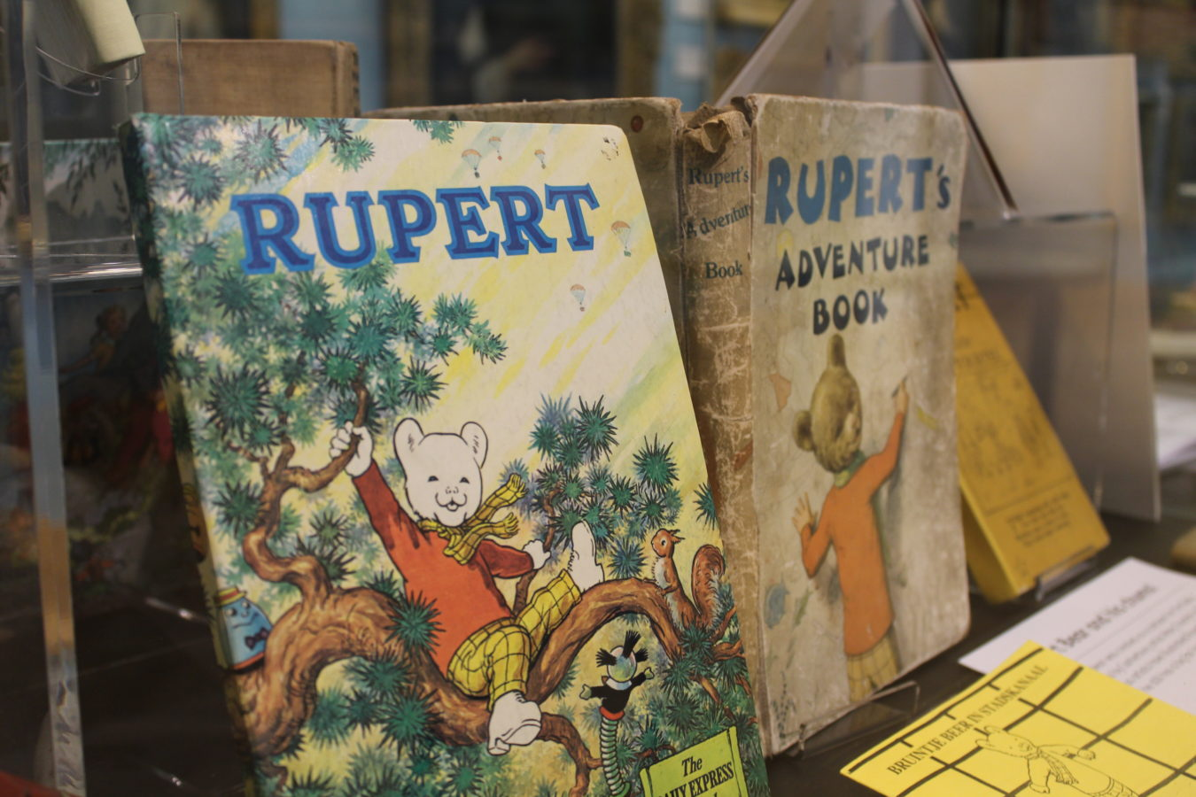 Rupert Bear annuals in one of the museum cabinets.