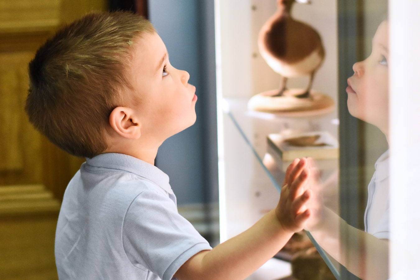 A young boy with his hand on a glass cabinet in The Colour and Camouflage Gallery, peering into to it