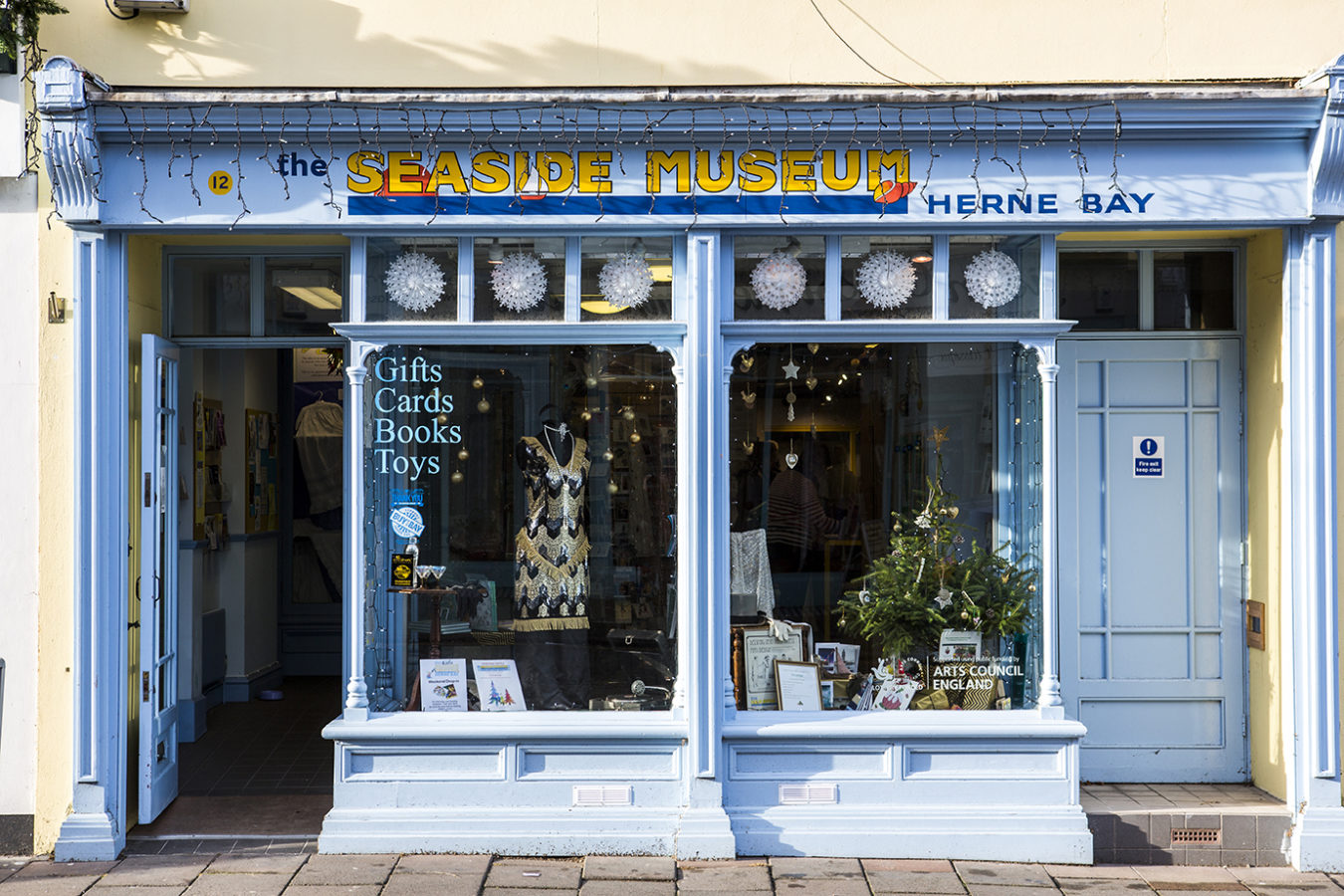 The front of the Seaside Museum in Herne Bay, painted in light blue.