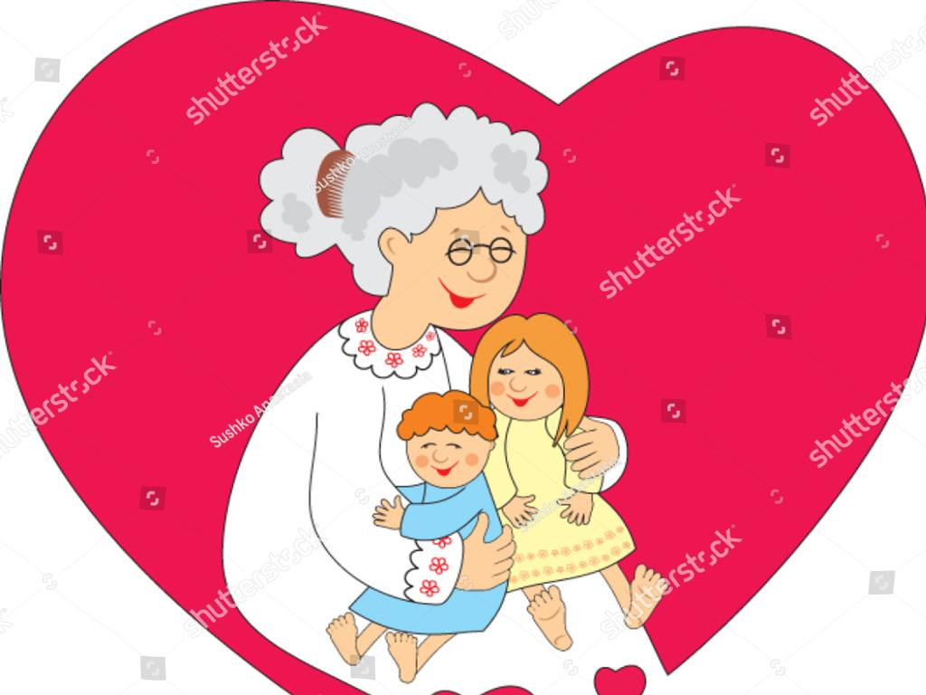 Illustration of grandparent hugging grandchildren