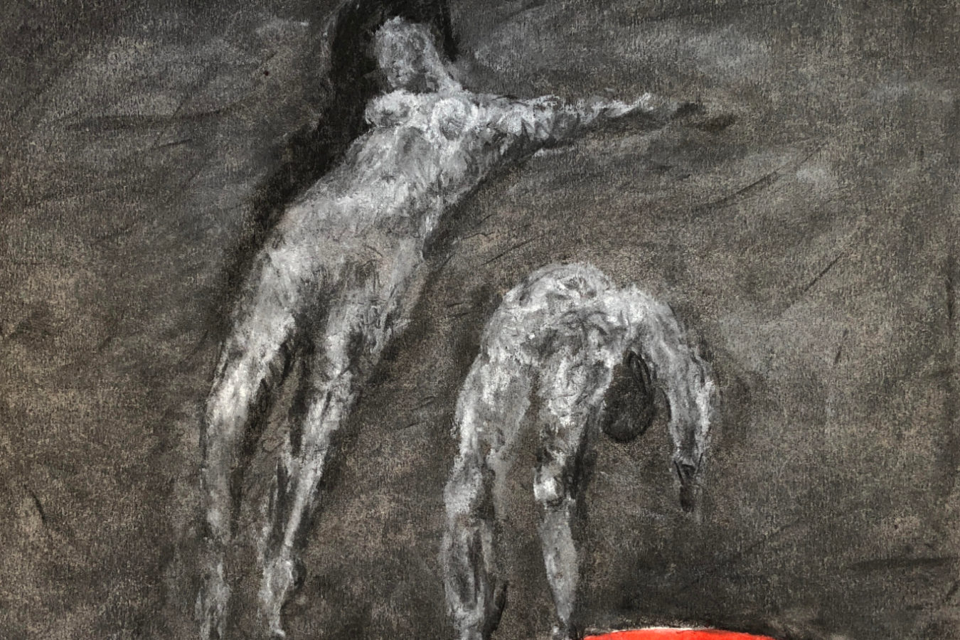 Abstract artwork with a grey background with two grey people who are stretching backwards.