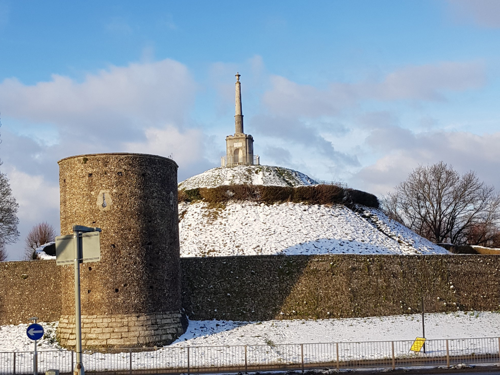 Dane John mound and city wall covered in snow
