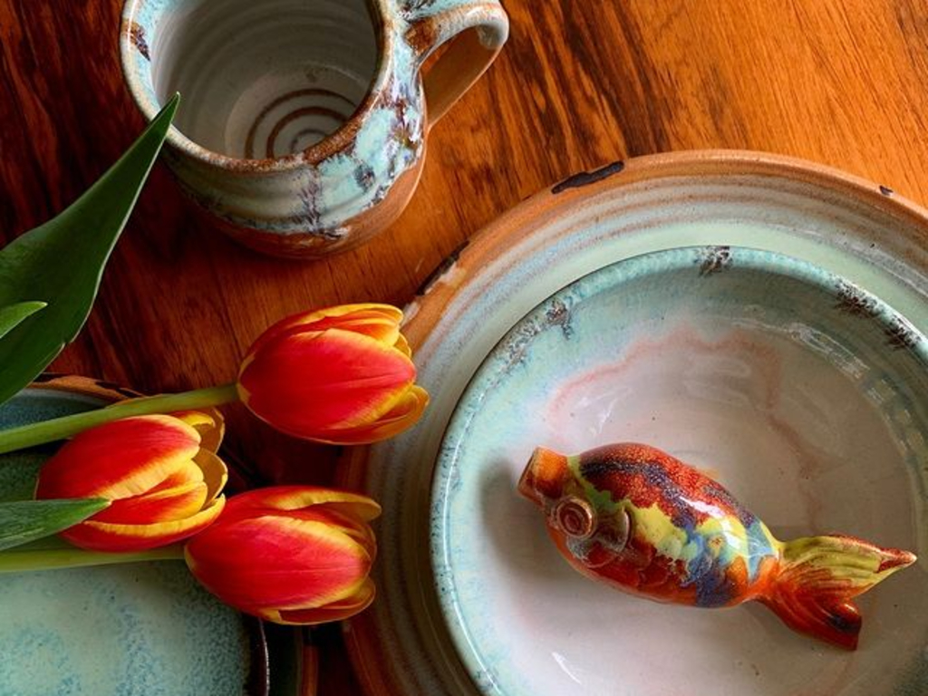 Bowls and mugs from Canterbury Pottery
